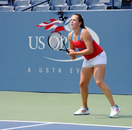 louis armstrong: FLUSHING, NY - AUGUST 23:Professional tennis player Anastasia Pavlyuchenkova practices for US Open at Louis Armstrong Stadium at Billie Jean King National Tennis Center on August 23, 2012 in Flushing, NY. Editorial