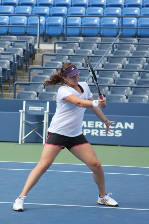 louis armstrong: FLUSHING, NY - AUGUST 26:Professional tennis player Anastasia Pavlyuchenkova practices for US Open at Louis Armstrong Stadium at Billie Jean King National Tennis Center on August 26, 2012 in Flushing, NY.