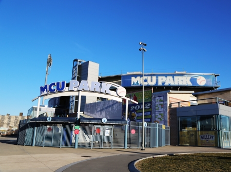 BROOKLYN, NY - MARCH 9: MCU ballpark a minor league baseball stadium in the Coney Island section of Brooklyn, the home team is the New York Mets - affiliated Brooklyn Cyclones  on March 9, 2013 Stock Photo - 18537056