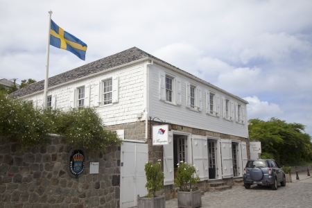 consulate: ST BARTH,FRENCH WEST INDIES - NOVEMBER 8: Swedish consulate in Gustavia, St Barths on November 8, 2012. It is the only Caribbean island which was a Swedish colony for any significant length of time
