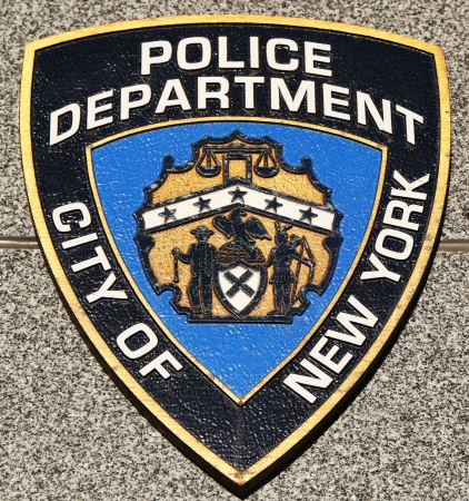 NYPD emblem on fallen officers memorial on March 9, 2013 in Brooklyn, NY.