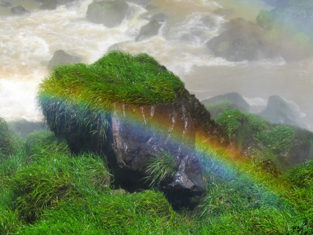 Rainbow at the Iguazu Falls photo