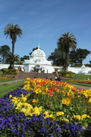 The Conservatory of Flowers building at Golden Gate Park in San Francisco, California