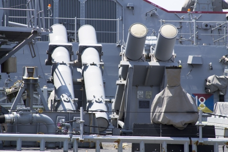 STATEN ISLAND, NEW YORK - MAY 29 Harpoon cruise missile launchers on the deck of US Navy destroyer during Fleet Week 2012 on May 29, 2012 in Staten Island, New York  Stock Photo - 18800299