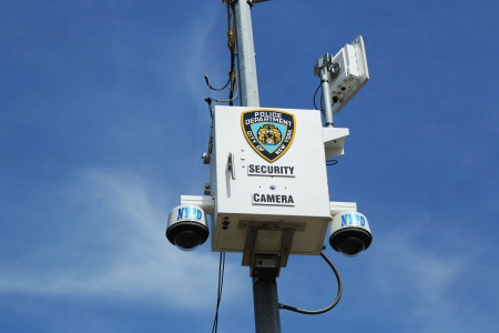 STATEN ISLAND, NY- APRIL 4: NYPD security camera placed  at the intersection in Staten Island, NY on April 4, 2013