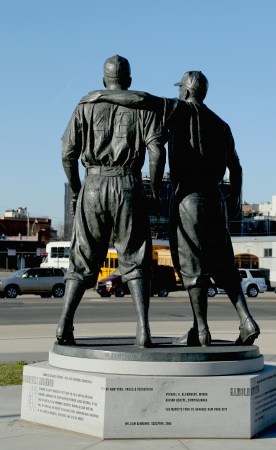 reese: BROOKLYN, NY - APRIL 6: Jackie Robinson and  Pee Wee Reese Statue in Brooklyn in front of MCU ballpark on April 6, 2013. 42 is an upcoming 2013 Hollywood film about baseball player Jackie Robinson