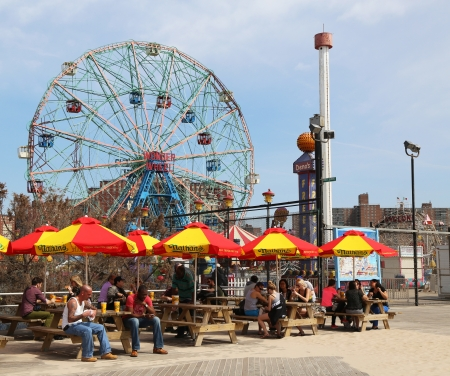 BROOKLYN, NEW YORK - APRIL 9:The Nathans reopened after damage by Hurricane Sandy on April 9, 2013 at  Coney Island Boardwalk. The original Nathans still exists on the same site that it did in 1916