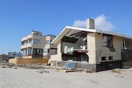 fema: FAR ROCKAWAY, NY - FEBRUARY 28: Destroyed beach house three months after  Hurricane Sandy on February 28, 2013 in Far Rockaway, NY