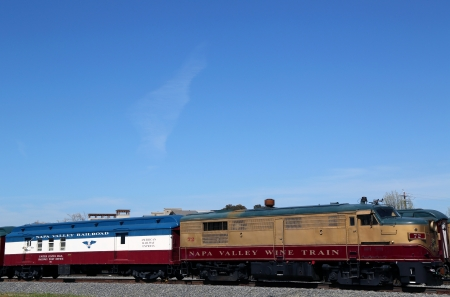 wine road: NAPA VALLEY, CA - MARCH 24:Wine train on March 24, 2013 in Napa. It is an excursion train that runs between Napa and St. Helena, California. Napa Valley Railroad founded by Samuel Brannan in 1864 Editorial