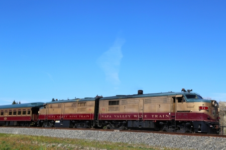 napa valley: NAPA VALLEY, CA - MARCH 24:Wine train on March 24, 2013 in Napa. It is an excursion train that runs between Napa and St. Helena, California. Napa Valley Railroad founded by Samuel Brannan in 1864 Editorial
