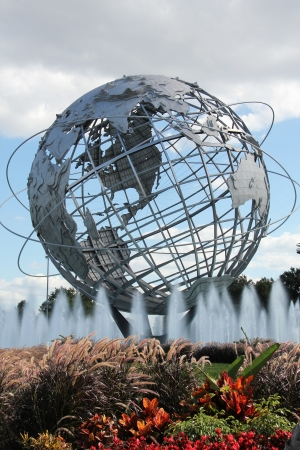 FLUSHING, NY - SEPTEMBER 10:1964 New York Worlds Fair Unisphere in Flushing Meadows Park on September 10, 2012. It is the worlds largest global structure, rising 140 feet and weighing 700,000 pounds