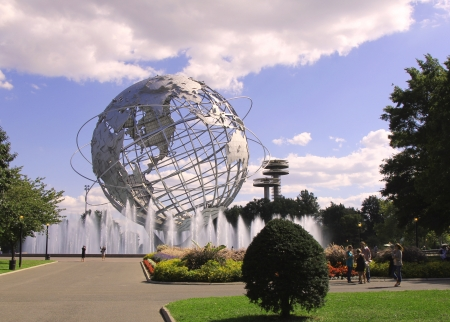 flushing: FLUSHING, NY - SEPTEMBER 10:1964 New York Worlds Fair Unisphere in Flushing Meadows Park on September 10, 2012. It is the worlds largest global structure, rising 140 feet and weighing 700,000 pounds