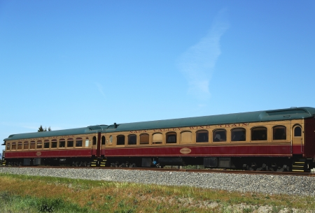 wine road: NAPA VALLEY, CA - MARCH 24:Wine train on March 24, 2013 in Napa. It is an excursion train that runs between Napa and St. Helena, California. Napa Valley Railroad founded by Samuel Brannan in 1864
