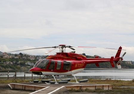 SAN FRANCISCO, CA - MARCH 28: Bell 407 helicopter ready to fly with tourists over  San Francisco Bay on March 28, 2013