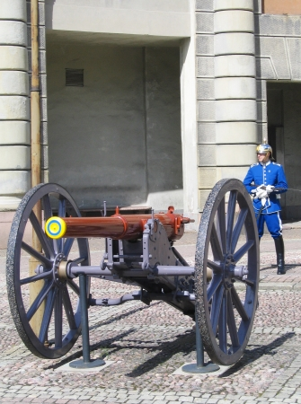 STOCKHOLM, SWEDEN - AUGUST 8: Royal Guard protecting Royal Palace in Stockholm on August 8, 2005. The Life Guards is a combined cavalry infantry regiment of the Swedish Army founded in 1521 Stock Photo - 19309515
