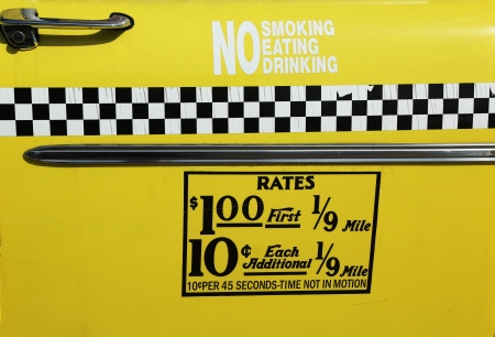New York City taxi rates decal  This rate was in effect from April 1980 till July 1984