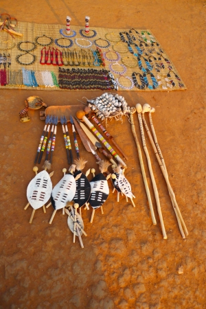 traditional culture: Traditional souvenirs for sale at Shakaland Zulu Village, South Africa