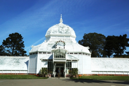conservatories: SAN FRANCISCO,CA - MARCH 29:The Conservatory of Flowers building at the Golden Gate Park in San Francisco on March 29, 2013.It is one of the largest conservatories built of traditional wood and glass  Editorial