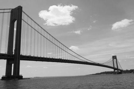 NEW YORK CITY - MAY 14:Verrazano Bridge in New York on May 14, 2013. The Verrazano Bridge is a double-decked suspension bridge that connects the boroughs of Staten Island and Brooklyn in New York City