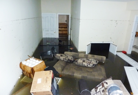 STATEN ISLAND, NY - OCTOBER 30: Completely flooded basement next day after Hurricane Sandy on October 30, 2012 in Staten Island. It is visible line showing maximum water level higher than 7 feet
