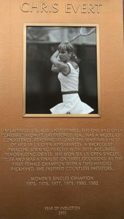 center court: FLUSHING, NY - APRIL 11: Chris Evert plaque at US Open Court of Champions at Billie Jean King National Tennis Center on April 11, 2013 in Flushing, NY.  Editorial