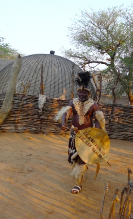 ZULULAND, SOUTH AFRICA - SEPTEMBER 14: Zulu Chief in Shakaland Zulu Village on September 14, 2009. A unique cultural center built on the set of movies Shaka Zulu and John Ross