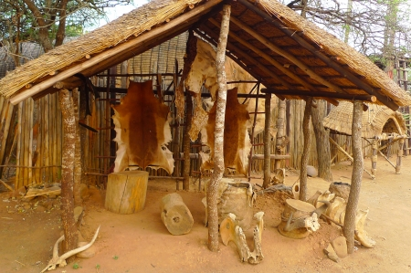 traditional culture: Inside of the Great Kraal in Shakaland Zulu Village, South Africa  A unique cultural center built on the set of movies Shaka Zulu and John Ross Stock Photo