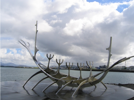 REYKJAVIK, ICELAND - AUGUST 2: Solfar or Sun Voyager sculpture in Reykjavik, Iceland  by Jon Gunnar Arnason on August 2, 2005 .Sun Voyager is a dreamboat, an ode to the sun