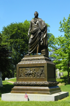 greenwood: BROOKLYN, NY  - JUNE 4: Governor DeWitt  Clinton monument at Green-Wood cemetery  in Brooklyn on June 4, 2013. He was United States Senator, New York City Mayor and New York State Governor  Editorial