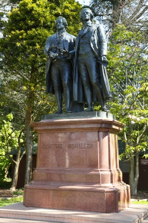 SAN FRANCISCO, CA - MARCH 29: Goethe and  Schiller Monument in Golden Gate Park in San Francisco on March 29, 2013. The original Goethe�Schiller Monument  by Ernst Rietschel is in Weimar, Germany