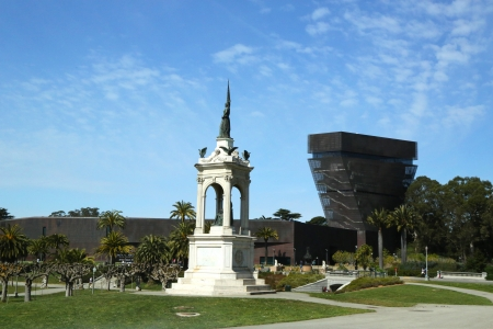 SAN FRANCISCO, CA - MARCH 29:Francis Scott Key monument and De Young Museum in Golden Gate Park in San Francisco on March 29, 2013.Golden Gate Park consisting of 1,017 acres (412 ha) of public grounds Editorial