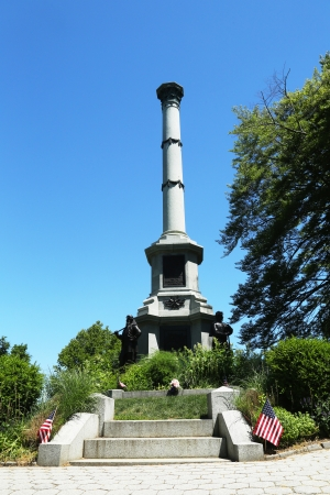 greenwood: BROOKLYN, NY  - JUNE 4  Soldiers monument at the Battle Hill at the Green-Wood cemetery in Brooklyn on June 4, 2013, It commemorates the New Yorkers who served the Union during the Civil War Editorial