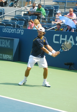 louis armstrong:  FLUSHING, NY - AUGUST 25: Professional tennis player Carlos Moya practices for US Open at Louis Armstrong Stadium at Billie Jean King National Tennis Center on August 25, 2007 in Flushing, NY Editorial