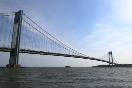 NEW YORK CITY - JUNE 22:Verrazano Bridge  in New York on June 22, 2013. The Verrazano Bridge is a double-decked suspension bridge that connects the boroughs of Staten Island and Brooklyn