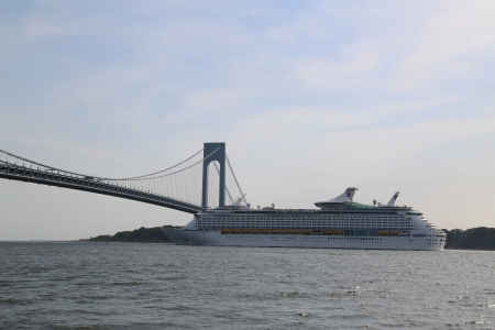NEW YORK - JUNE 22:Royal Caribbean Explorer of the Seas Cruise Ship under Verrazano Bridge on June 22, 2013.Explorer of the Seas built in 1999 with capacity of 3114 passengers Editorial