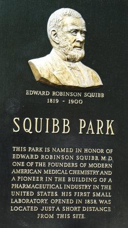 BROOKLYN, NEW YORK - 26 mei: Edward Squibb gedenkteken op Squibb Park in Brooklyn op 26 mei 2013. Dr Squibb leidde Amerikaanse uitvinder, pionier op het gebied van de medische chemie en producent van farmaceutica