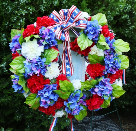Memorial Day wreath of flowers