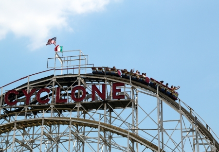 BROOKLYN, NEW YORK - MAY 30:Historical landmark Cyclone roller coaster on May 30, 2013 in the Coney Island section of Brooklyn. Cyclone is a historic wooden roller coaster opened on June 26, 1927   Editorial