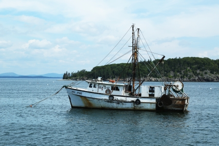 lobster boat: Lobster boat at French Bay near Bar Harbor, Maine