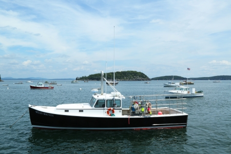 lobster pots: Lobster boats at French Bay near Bar Harbor, Maine