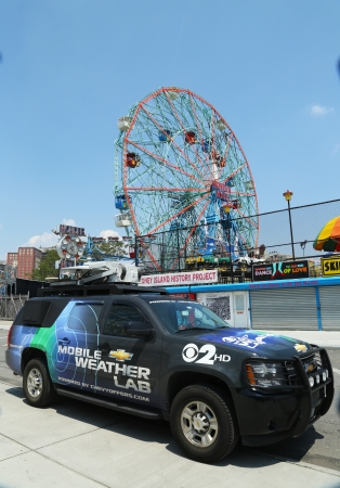 BROOKLYN, NY- MAY 30:CBS Channel 2 mobile weather lab in Brooklyn, NY on May 30, 2013. The Weather Lab has high-tech weather gear that allow to measure wind speed, humidity, rainfall , temperature