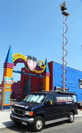 eyewitness: BROOKLYN, NY - MAY 30: WABC Channel 7 Eyewitness news van in front of Luna Park in Brooklyn on May 30, 2013. Eyewitness News is a style of news broadcasting used by local television stations in the US