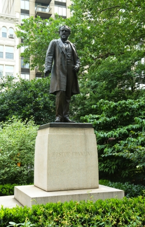 NEW YORK - JUNE 27:Roscoe Conkling statue at  Madison Square Park on June 27, 2013. He was a politician from New York who served both as a member of the US House of Representatives and the US Senate Editorial