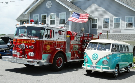 BROOKLYN, NEW YORK - JULY 14:Fire truck and 1966 Volkswagen Bus Vanagon on display at the Mill Basin car show held on July 14, 2013 in Brooklyn, New York