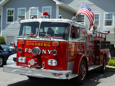 BROOKLYN, NEW YORK - JULY 14:Fire truck on display at the Mill Basin car show held on July 14, 2013 in Brooklyn, New York