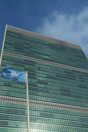 United Nations Flag in front of UN Headquarter in New York  Editorial