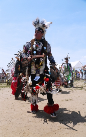 BROOKLYN, NEW YORK - JUNE 2:Unidentified Native American dancer at the NYC Pow Wow in Brooklyn on June 2, 2013. A pow-wow is a gathering and Heritage Celebration of North America s Native people
