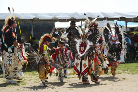 BROOKLYN, NEW YORK - JUNE 2:Unidentified Native American dancers at the NYC Pow Wow in Brooklyn on June 2, 2013. A pow-wow is a gathering and Heritage Celebration of North America s Native people