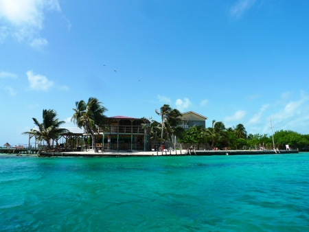 CAYE CAULKER, BELIZE - JUNE 10 The Split Bar at Caye Caulker  Caye Caulker is a small island off the coast of Belize in the Caribbean Sea  It is a popular destination for backpackers and  tourists