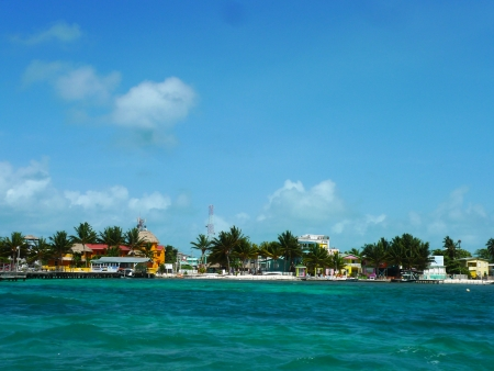 Colorful houses at Caye Caulker, Belize photo